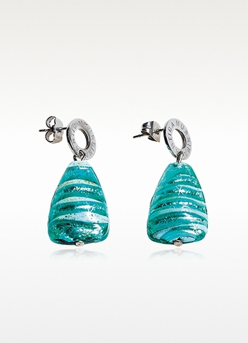 Murano Glass and Silver Leaf Drop Earrings by Antica Murrina in Jem and the Holograms
