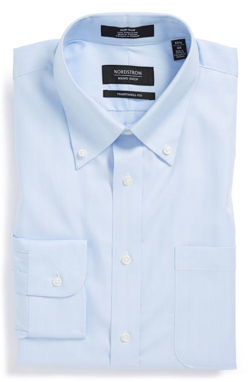 Traditional Non-Iron Solid Dress Shirt by Nordstrom in Gone Girl