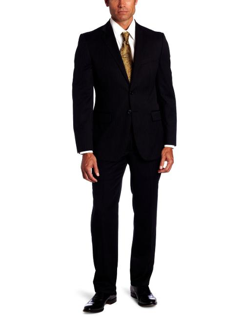 Men's Two-Button Side-Vent Stripe Suit With Flat-Front Pant by Joseph Abboud in Hot Tub Time Machine 2