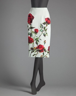 Rose Print Cady Pencil Skirt by Dolce & Gabbana in Empire