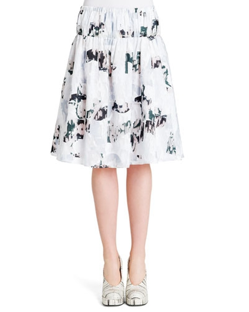 Abstract-Print Elastic-Waist Cotton Skirt by Jil Sander in Pretty Little Liars - Season 6 Episode 12