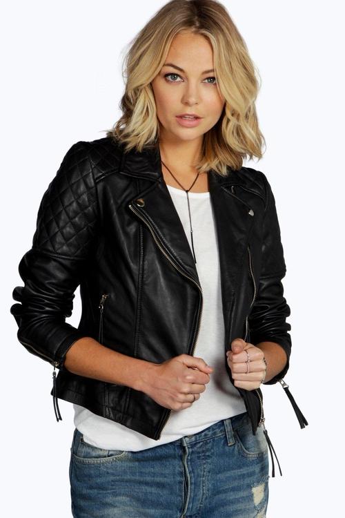 Millie Leather Biker Jacket by Boohoo Boutique in Brooklyn Nine-Nine - Season 3 Episode 11