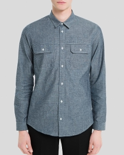 Worker Chambray Button Down Shirt by Sandro in Cut Bank