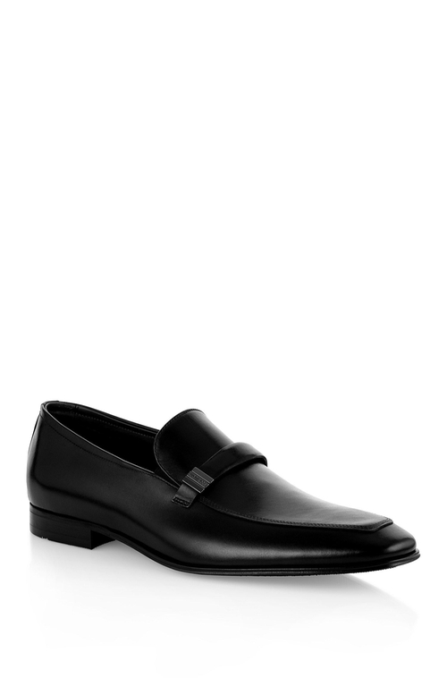Sleken Leather Loafer by Boss in Black Mass