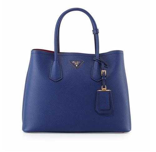 Saffiano Cuir Double Medium Tote Bag by Prada in Billions - Season 1 Episode 10