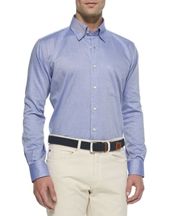 Solid Oxford Dress Shirt by Peter Millar in Knock Knock