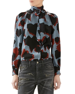 Leaves Print Silk Shirt by Gucci in Scandal