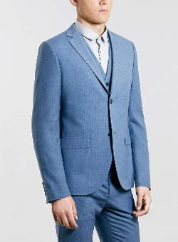 Blue Skinny Three Piece Suit by Topman in Anchorman 2: The Legend Continues