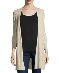 Organic Long Slim Ribbed Cardigan by Eileen Fisher in Suits
