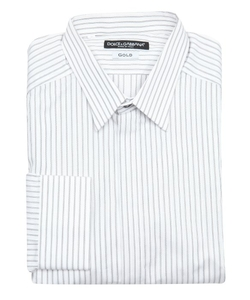 Striped Cotton Concealed Button Dress Shirt by Dolce & Gabbana in Ballers