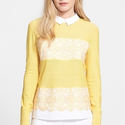 Edwina Embroidered Panel Collared Sweater by Tory Burch in New Girl