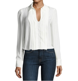 Pleated Split-Neck Silk Blouse by Frame in Suits
