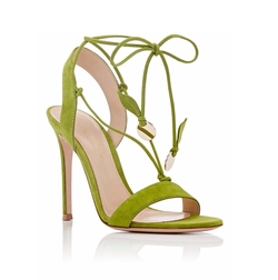 Cherry Suede Ankle-Tie Sandals by Gianvito Rossi in The Bold Type