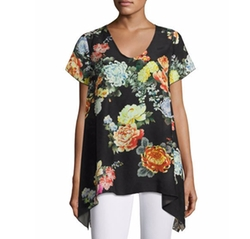 Ziara Printed Handkerchief-Hem Tunic Top by Johnny Was in New Girl