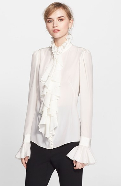 Ruffle Silk Blouse by Alexander Mcqueen in Scandal - Season 5 Episode 1