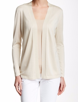 Long Sleeve Silk & Cashmere Cardigan by Lafayette 148 in New Girl