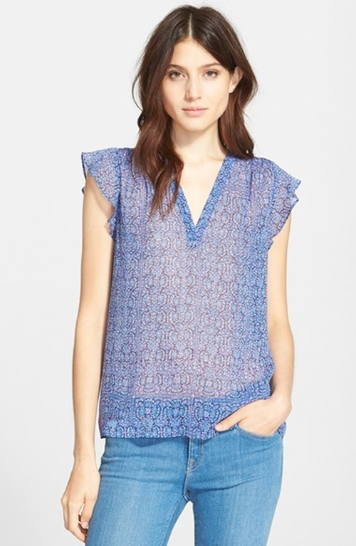 'Haleh' Print Silk Top by Joie in Nashville - Season 4 Episode 3