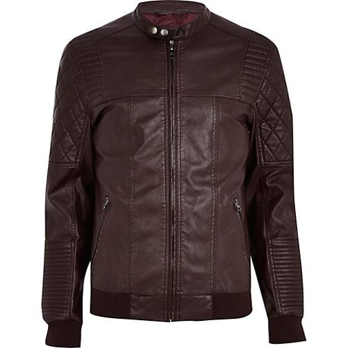 Dark Red Quilted Panel Biker Jacket by River Island in Ride Along