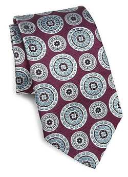 Medallion Print Silk Tie by Ike Behar in Suits