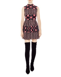 Honeycomb Printed Silk Dress by Sandro in New Girl