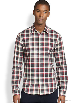 Poplin Plaid Sportshirt by Vince in Ouija
