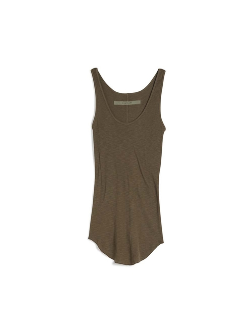 Sheer Rib Tank Top by Enza Costa in Rosewood