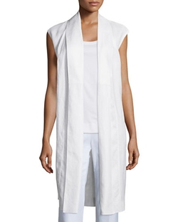 Zahra Linen Long Vest by Lafayette 148 New York in Keeping Up With The Kardashians