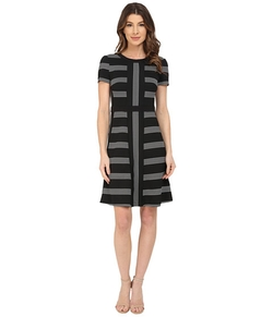 Pucker Stripe Fit And Flare Dress by Maggy London in New Girl