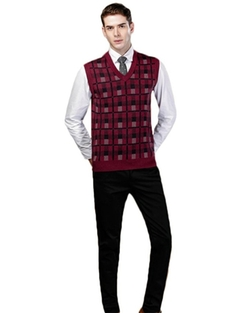 Men's Grid Pattern V-Neck Wool Sweater Vest by Volyer in Modern Family