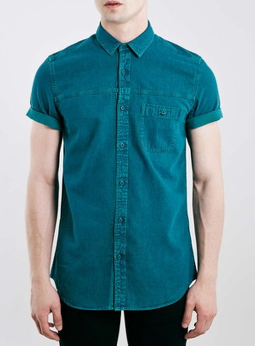 Teal Grunge Denim Short Sleeve Casual Shirt by Topman in Pretty Little Liars - Season 6 Episode 13