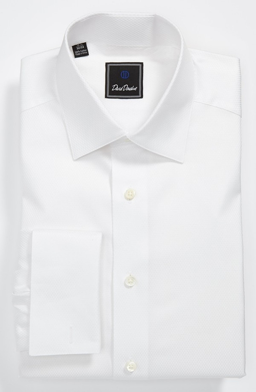 Tonal Solid Regular Fit Tuxedo Shirt by David Donahue in Suits - Season 5 Episode 1