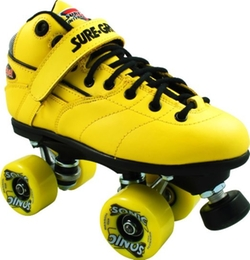 Rebel Sonic Yellow Outdoor Roller Skates by Sure Grip in Austin Powers in Goldmember