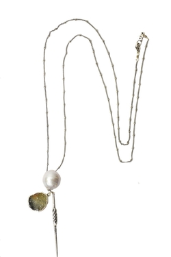 Gray Pearl Charm Silver Necklace by Chan Luu in Arrow