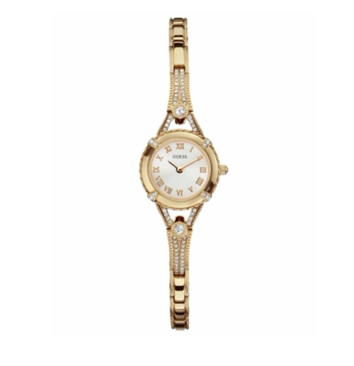 Goldtone Petite Glamour Embellishment Watch by Guess in Sisters