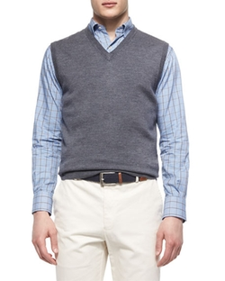 Merino Wool V-Neck Vest by Peter Millar in The Flash