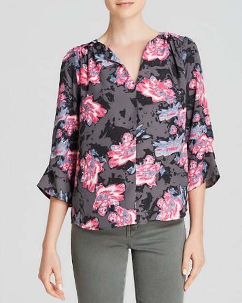 Shadow Floral V-Neck Three Quarter Sleeve Printed Top by Aqua Top in While We're Young