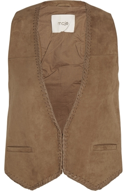 Enclos Leather-Trimmed Suede Vest by Maje in The Living Daylights