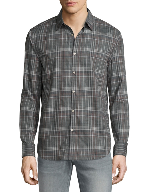 Plaid Slim-Fit Sport Shirt by John Varvatos Star USA in New Girl - Season 6 Episode 4