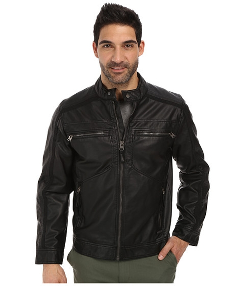 Faux Leather Moto Jacket by Calvin Klein in Fifty Shades of Black