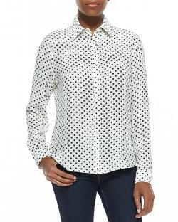 Dots-Print Button-Front Silk Shirt by Dora Landa in Project Almanac