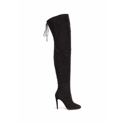 Corset Cuissard Suede Lace-Up Thigh High Boots by Aquazzura in Empire