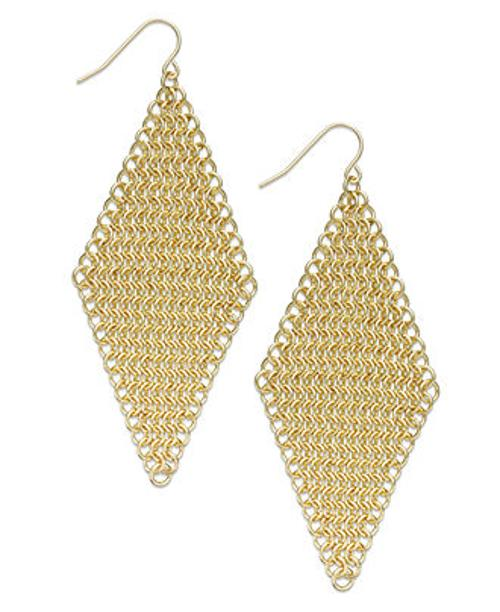 Gold-Tone Chain Mesh Kite Drop Earrings by ABS by Allen Schwartz in Couple's Retreat