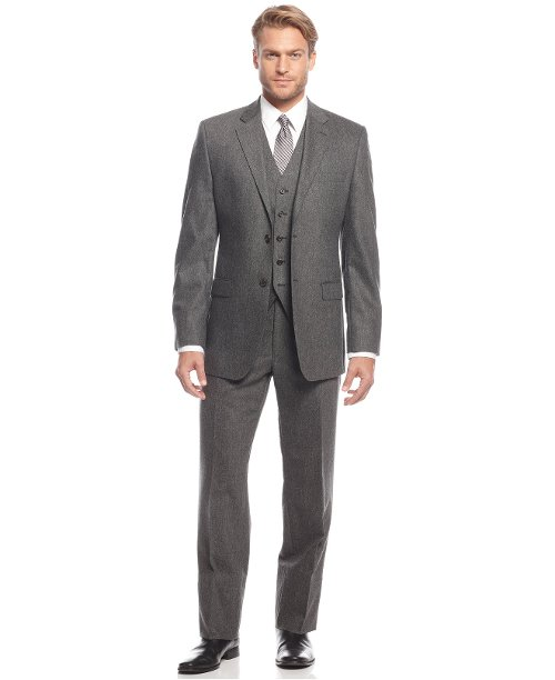 Grey Flannel Vested Slim-fit Suit by Ralph Lauren in Anchorman 2: The Legend Continues