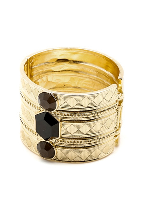Statement Gold Cuff Bracelet by Portage in Pretty Little Liars - Season 6 Episode 10