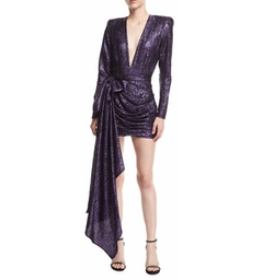 Plunging Metallic Jacquard Dress by Redemption in Will & Grace