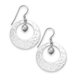 Hammered Disc and Austrian Crystal Pearl Hoop Earrings by Jody Coyote in St. Vincent
