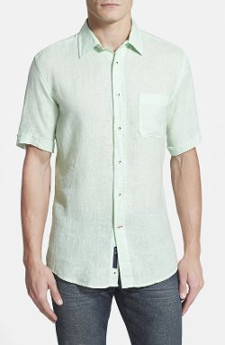 Regular Fit Short Sleeve Linen Sport Shirt by Benson in The Age of Adaline