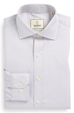 Trim Fit Solid Dress Shirt by Todd Snyder White Label in That Awkward Moment