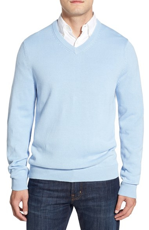 Regular Fit Cotton V-Neck Sweater by Nordstrom in New Girl