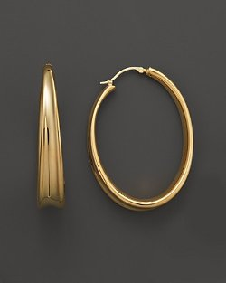 Yellow Gold Large Offset Hoop Earrings by Bloomingdales in The Counselor